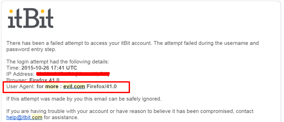 User agent spoofing in email notification