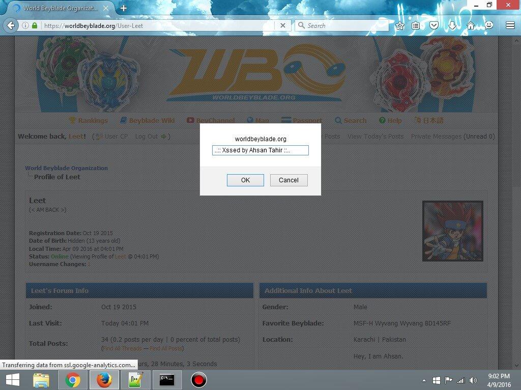 Stored XSS Vulnerability in World Beyblade